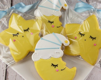 Star & Moon Cookies, Baby Cookies - 12 Decorated Sugar Cookie Favors