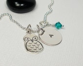 Owl - Initial Birthstone - Personalized Charm Necklace - Hand Stamped Necklace - Personalized Jewelry - Sterling Silver Charm Necklace
