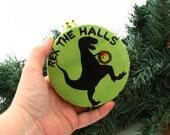 T Rex ornament, Dinosuar lover rex the halls, christmas ornament, funny christmas ornament, ceramic under 10