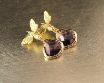 Papillon Amethyst Glass Stones Framed In Gold Plate With Gold Butterflies - Earrings of Gold Butterflies and Purple Glass Stones