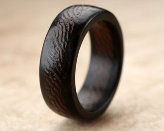 Ebony Wenge Wood Ring- 8mm