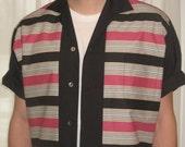 Men's Rockabilly Shirt Jac Pink & Black Stripe