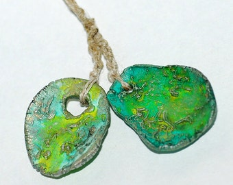 Inspiration, Handmade ceramic green beads, coolvintage, jewelry art, looks great, unique, for earrings and necklaces