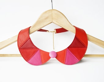 Leather Necklace Pink and Red Leather Collar Bib Necklace Peter Pan Detachable Collar Leather Jewelry READY TO SHIP