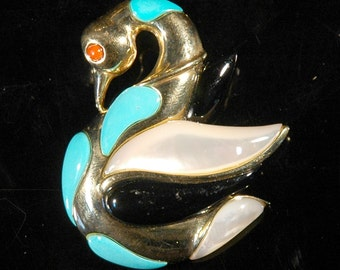Vintage Swan Brooch, 14k Yellow Gold, Natural Stones, Black Onyx, Mother of Pearl, Turquoise, Coral, Highly Polished, Fine Quality, Mint