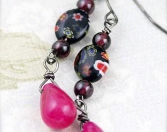 Garnet pink earrings - jade and garnet