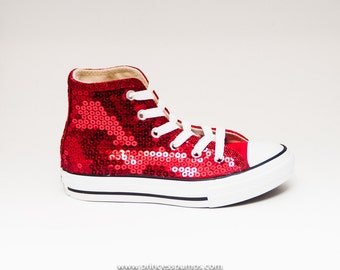 Youth | Sequin Size Red Converse Customized Canvas Hi Tops Sneakers Tennis Shoes