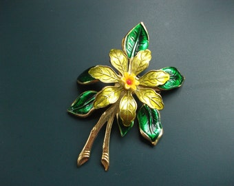 Vintage Made In West Germany Enamel Flower Brooch Pin