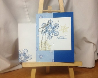 "Hand Stamped Greeting Card ""Merry Christmas"" Blue Snowflakes Stampin' Up"