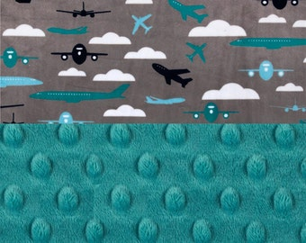 Minky Baby Blanket Boy,  Personalized Gray Airplanes Blue Teal