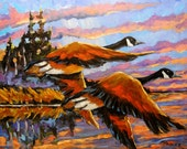 Flight Navigations Geese in  Motion - Large Autumn Landscape - Original Oil Painting Created by Prankearts