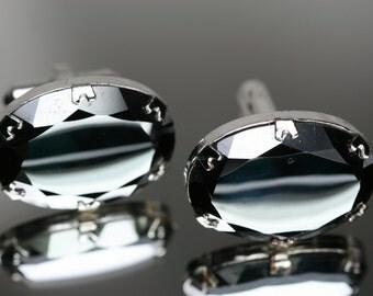 Vintage Silver Tone and Hematite Cufflinks