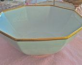 Fitz and Flloyd Hexagonal mint green bowl-Renaissance pattern-24k gold