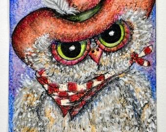 Country Hoot, is an artist trading card, art collectable of a cute whimsical owl dressed in cowboy hat and bandana