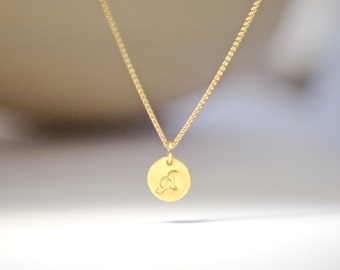 Solid Gold Stamped Charm Initial Personalized Mothers Necklace 22k Gold Metal Clay Monogrammed Gift for Mother Daughter Wife Stamped Charm