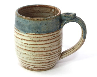 Small Ceramic Mug  - Cream and Slate Blue with ridges - 10-11 oz with thumb rest  Ready to Ship- In-Stock