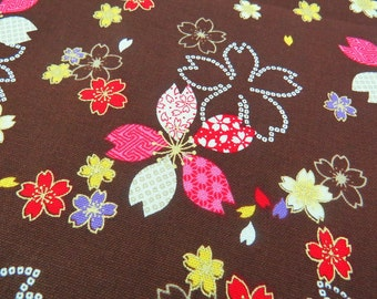 2524B - Pretty Sakura Flower with Gold Print Fabric in Brown, Retro Sakura Flowers