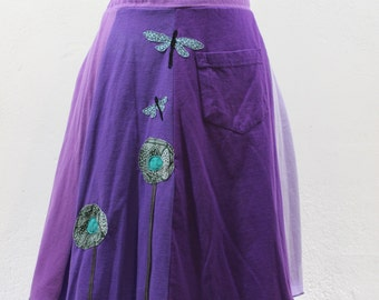 T-Skirt Upcycled, recycled with flowers and dragonflies appliqué t-shirt skirt in purple