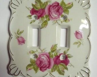 Vintage Lefton Porcelain Double Switchplate Cover PINK ROSES Gold Trim