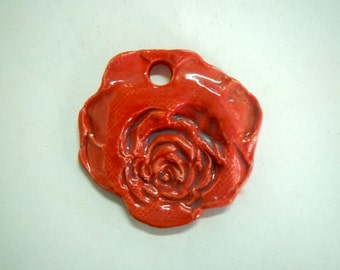 Red Rose Ceramic Pendant