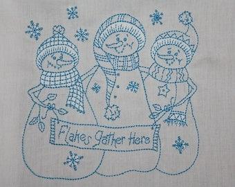 Redwork Snowmen Machine Embroidered Quilt Blocks Set