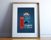 London printable, Office Wall art Decor, English Flag, Telephone Booth, London is calling, City, travel art poster ,digital INSTANT DOWNLOAD