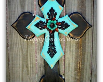 Wall CROSS - Wood Cross - Small - Antiqued Black & Turquoise with Iron Cross and Iron Rose
