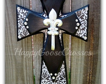 Small Wall CROSS - Black Damask and Silver Fleur De Lis Hook
