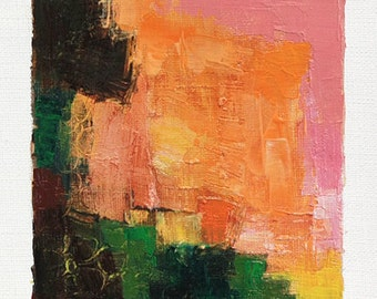 Oct. 30, 2014 - Original Abstract Oil Painting - 9x9 painting (9 x 9 cm - app. 4 x 4 inch) with 8 x 10 inch mat