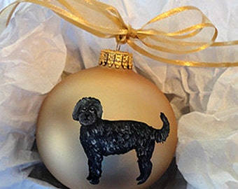Labradoodle (Black) Dog Hand Painted Christmas Ornament - Can Be Personalized with Name