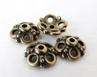 TierraCast Antiqued Brass Ox Bead Cap Clover Flower Bronze 9mm bcp0068 (4)
