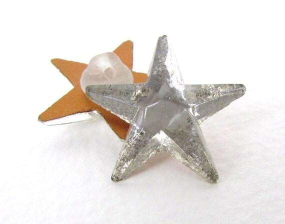 Vintage Buttons Glass Star Rhinestone Mirror Shanks Czech 24mm but0137 (2)