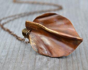 Copper Leaf Pendant Necklace Rustic Botanical Jewelry