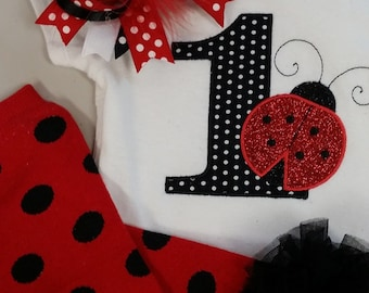 Ladybug birthday, personalized shirt, birthday onesie, embroidered shirt, Birthday shirt lady bug