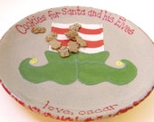 Elf Shoes Cookies for Santa Plate - Personalized Christmas Plate - Elf Treats Plate - Santa Cookie Plate - Elf Snack Plate - made in USA