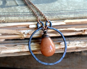 Wire wrapped copper necklace, caramel colored stone, hammered copper - Caramel Crush