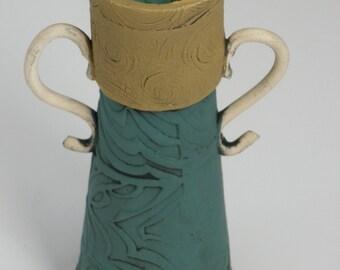FLOWER VASE, Pottery Vase, Ceramic Vase, Porcelain Vase, Bud Vase, Stamped Vase