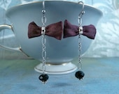 Empire State Earrings – burgundy silk bows, silver chain, onyx, Bali silver