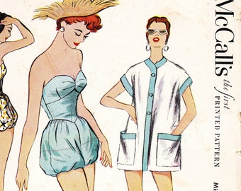 Vintage 1950s swimsuit / playsuit sewing pattern - McCalls 9705 - bust 32