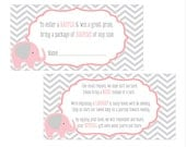 Digital Printable Diaper Raffle Tickets and Bring a Book Invitation Inserts with Pink Elephant for Baby Showers DRB002