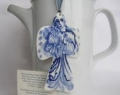 Blue Angel - Ornament - Hand painted blue and white Delftware porcelain