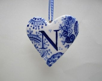 Letter N- Capital N- Initial - Monogram - Hand painted porcelain  Heart -  Blue and white personalized  ornament