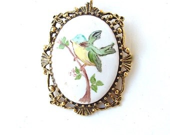 Vintage Bird Necklace Pendant and Brooch, Bluebird, Ornate Antique Gold Tone Frame Hand Painted Ceramic Stone