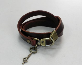 Leather Bracelet Leather Charm Bracelet Leather Cuff Brown Color with Metal Key Charm Bronze Tone