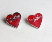 Mother Heart Pin Set, Mother Pin, Heart Pin, Red Heart Pin