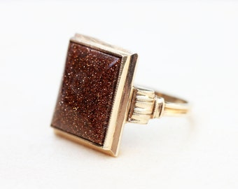 10K Goldstone Rectangle Ring - Size 6.25