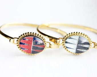 Geometric Glass Cabochon Bracelet