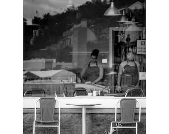 A Reflected World No 8 Cafe Fine Art Photography Black and White coffee house decor story telling Scottish village shop girls story telling