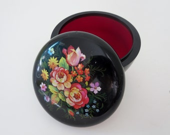 Vintge Jewelry Trinket  Box With Folk Art Flowers - Black Plastic Round Vanity Trinket Box made by Hallmark