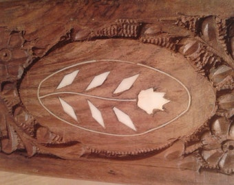 Wood Box Hand Carved with Mother of Pearl Inset
